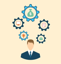 Businessman head with cogwheels vector