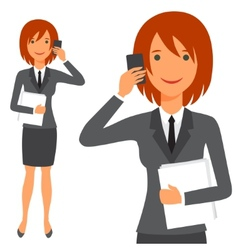 Cute business lady in suit vector