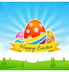 Happy easter egg text with ribbon on nature vector