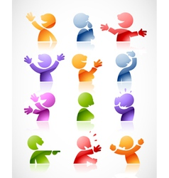 Character in multiple colors and postures vector