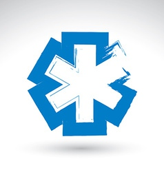 Brush drawing simple blue ambulance symbol vector