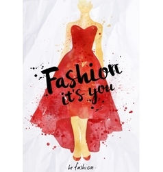 Watercolor poster lettering fashion its you vector