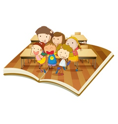 Pop up book classroom vector