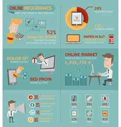 Online shopping infographics elements vector
