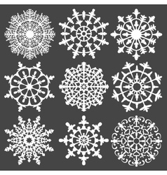 Set of silhouette snowflakes for your design vector