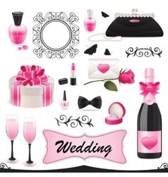 Wedding icon set vector