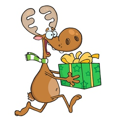 Happy reindeer runs with bag vector