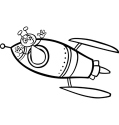 Alien in rocket cartoon coloring page vector