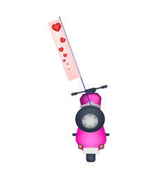 Motorbike with a love flag on white background vector