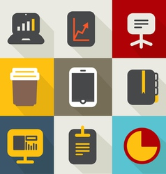 Different business icons set vintage style vector