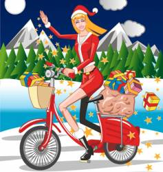 Santa girl riding a bicycle vector
