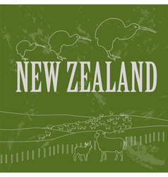 New zealand landmarks retro styled image vector