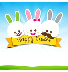 Happy easter rabbit bunny text with ribbon on vector