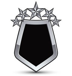 Festive black emblem with outline and five silver vector
