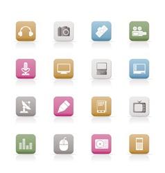 Media equipment icons vector