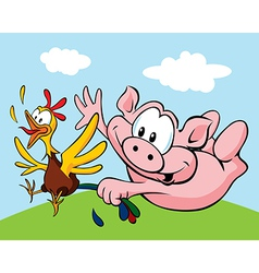 Pig catch a hen vector