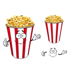 Striped red paper bucket of popcorn cartoon vector