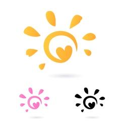 Heart sun icon vector
