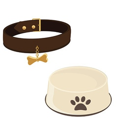 Dog bowl and collar vector