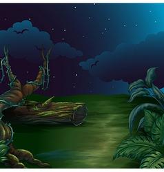A beautiful landscape in a dark night vector