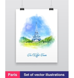 Watercolor of the eiffel tower vector