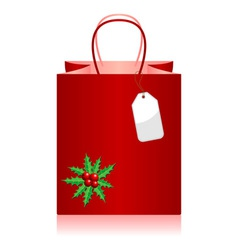 Christmas shopping bag with tag over white vector