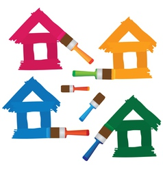 Set of coloured houses drawn by paint vector