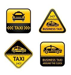 Taxi cab set labels vector