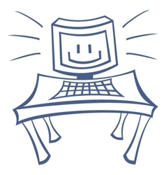 Smile on pc screen vector