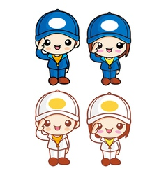 Salute to the boy and girl character mascot vector