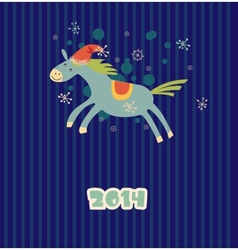 Funny christmas horse vector