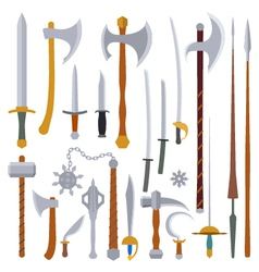 Flat design colors medieval weapon set vector
