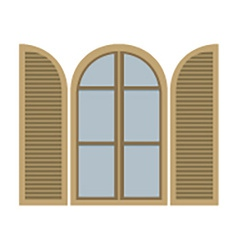 Open vintage arc window isolated on white vector