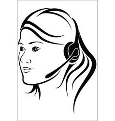 Woman with headset in callcenter vector