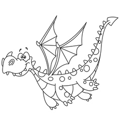 Outlined flying dragon vector