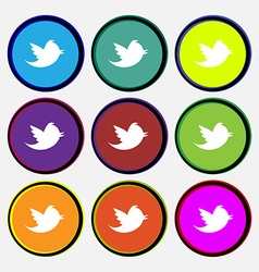 Messages retweet icon sign nine multi-colored vector