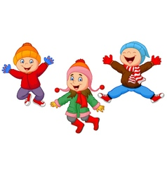 Group of children jumping together in wintertime vector