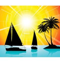 Yachts on the ocean vector