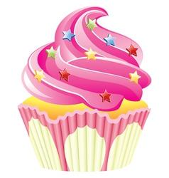 Pink cupcake vector