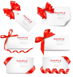 Big set of cards with red bows and ribbons vector