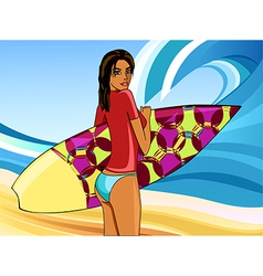 A girl with a surfboard vector