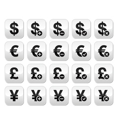 Currency buttons set - dollar euro yen pound vector