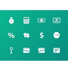 Economy icons on green background vector
