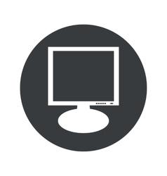 Monochrome round monitor icon vector