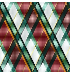 Rhombic tartan green white and brown fabric vector
