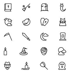 Halloween line icons 5 vector