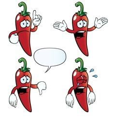 Crying chili pepper set vector