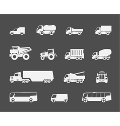 Trucks and buses icons vector