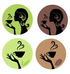 Woman drinking coffee and tea vector
