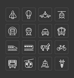 Flat icons set transportation outline concept vector